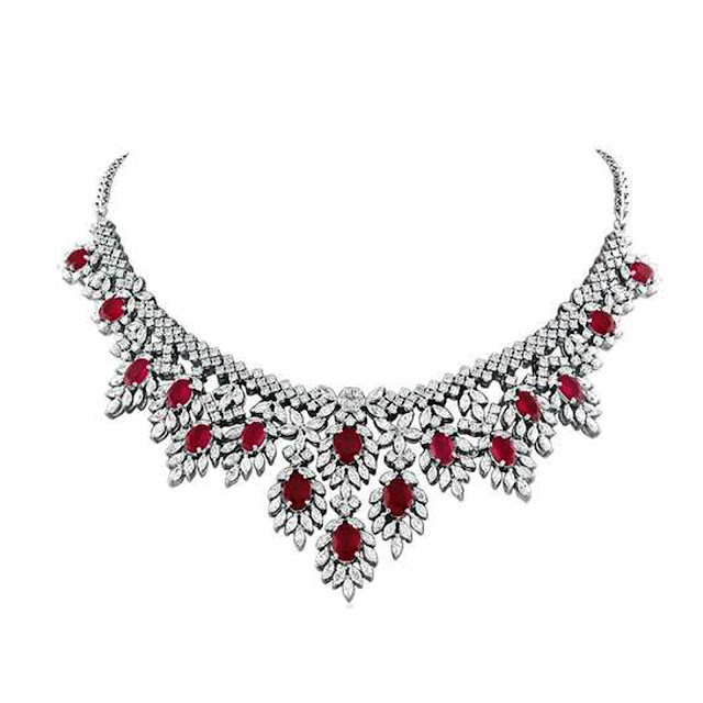 Red sparkle diamond necklace by VelvetCase.com- Rs. 10,45,269