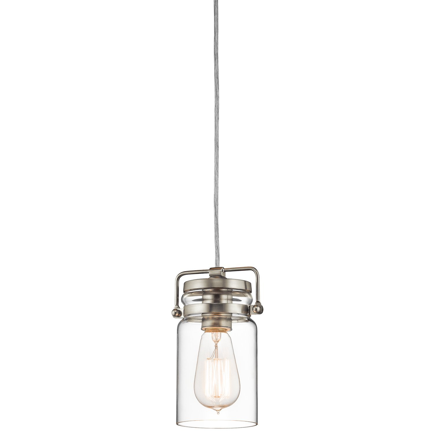 Brinley 1LT Mini-Pendant, Brushed Nickel Finish with Clear Glass Shade as seen on linenandlavender.net - http://www.linenandlavender.net/p/lighting-new-antique-one-of-kind.html
