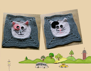 free crochet pattern, free crochet granny square pattern, free crochet kitty granny square pattern, free crochet cat granny square pattern, free crochet cat blanket pattern, free crochet kitten pattern, donation idea,  Project Chemo Crochet, Oswal Cashmilon, Pradhan Stores,