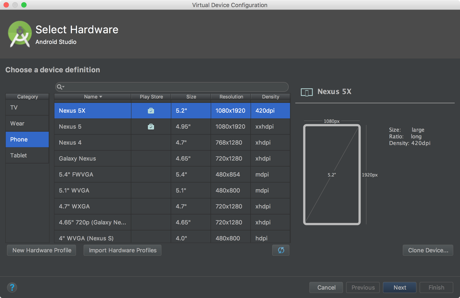 how to delete virtual devices android studio