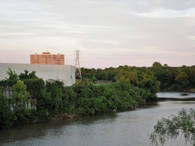 Buffalo Bayou seen from Jensen Drive Bridge - KBR Redevelopment Site on left bank
