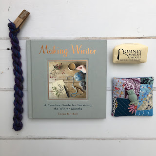 Book, yarn, wool soap and lavender sachet