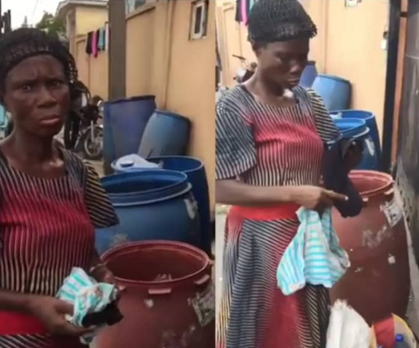 Woman Caught In Lagos With Used Pads and Pants