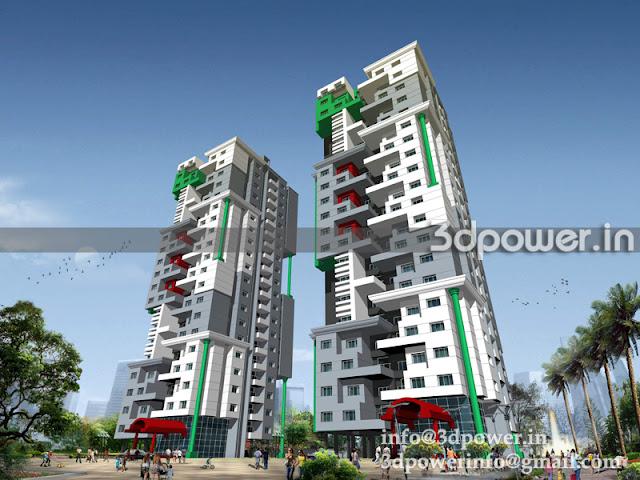 High-rise Building 3D Design Rendering