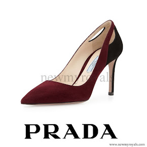 Crown-Princess Mary wore Prada Purple Bicolor Suede Cutout Point Toe Pumps