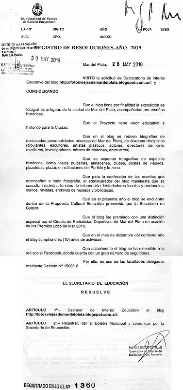 Sitio declarado de Interés Educativo por la Municipalidad de General Pueyrredon