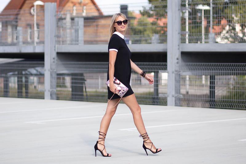 deichmann, torebka deichmann, różowa torebka, czarne szpilki, klasyczne szpilki, sukienka, czarna sukienka, sukienka z kołnierzykiem, SZPILKI