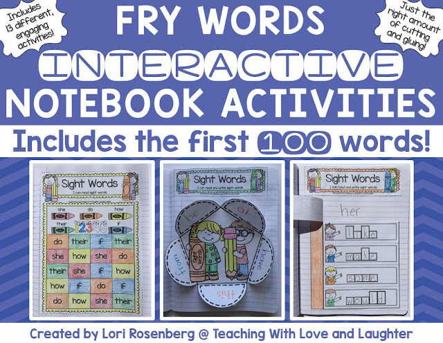 Fry Words Editable Interactive Notebook Activities {The First Hundred Words}