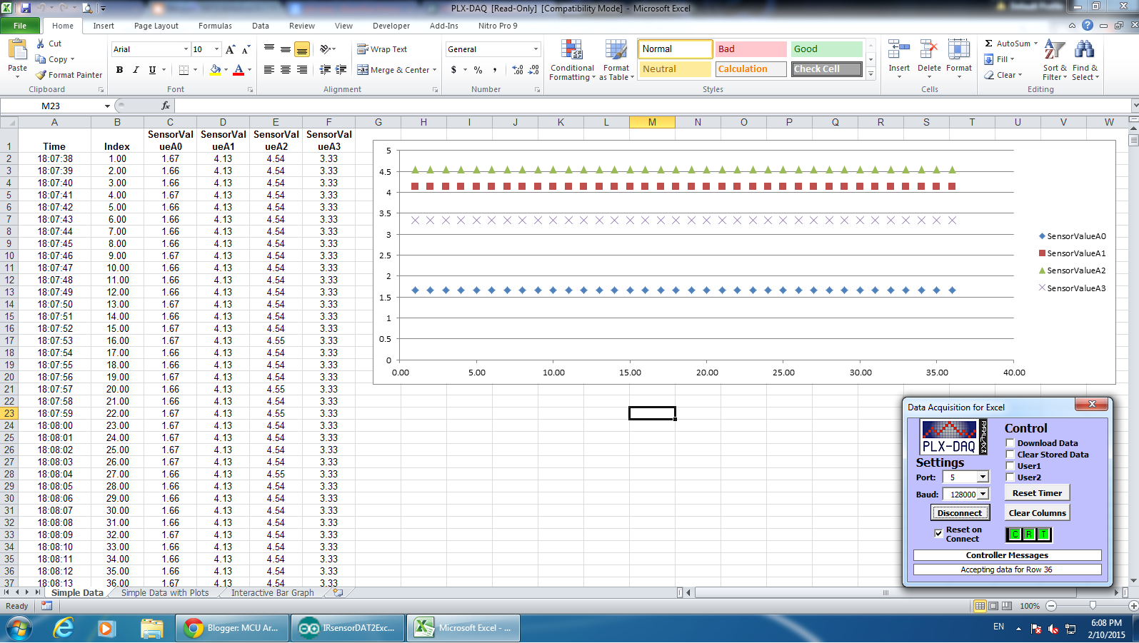 How to send data from Arduino to MS Excel (PLX-DAQ) - elec108