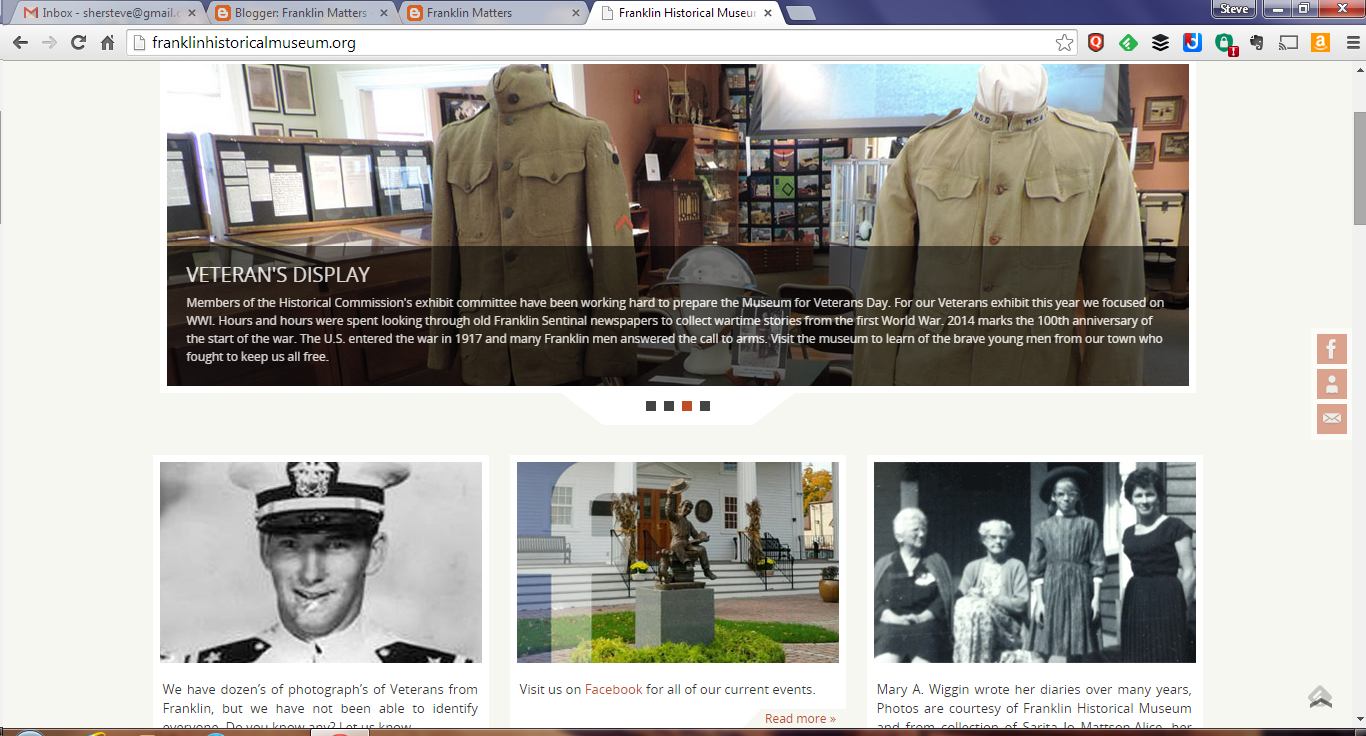 screen grab of Franklin Historical Museum webpage