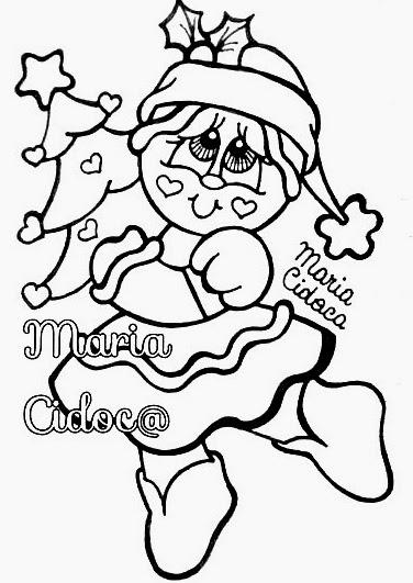 desenho de boneca ginger com arvore de natal para pintar