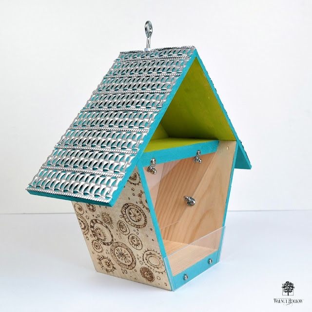 Birdhouse Box Bird Feeder Tutorial by Dana Tatar for Walnut Hollow - How to Use An Adult Coloring Book Page with Wood Burning - Metal Ribbon Roof and Acrylic Seed Catcher