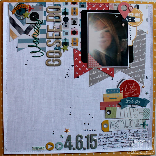 """Go see do "" layout by Bernii Miller using the Pink Paislee Atlas collection."