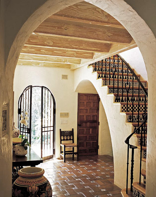 Entry, Montecito Spanish Colonial by Architect Thomas Bollay image via old house online dot com as seen on linenandlavender.net. post:  http://www.linenandlavender.net/2013/05/where-i-went-today.html