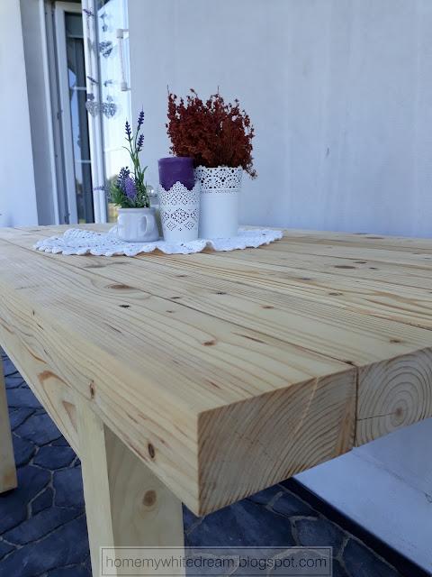 drewniany stół na taras, stół z grubych desek,