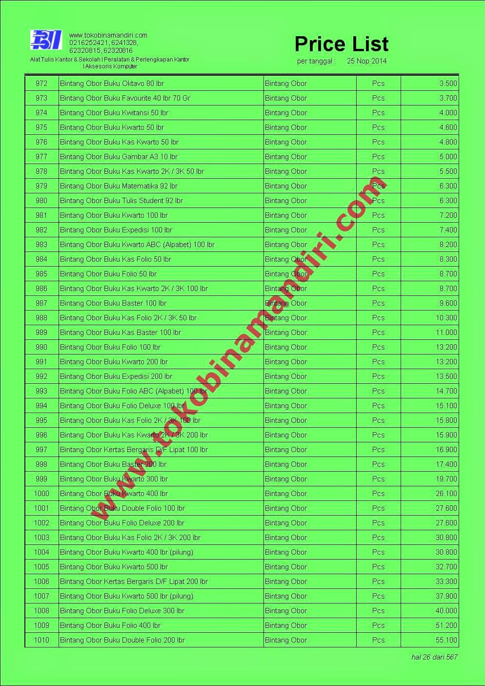 daftar harga perlengkapan sekolah | CV. Bina Mandiri - toko alat tulis kantor agen perlengkapan sekolah