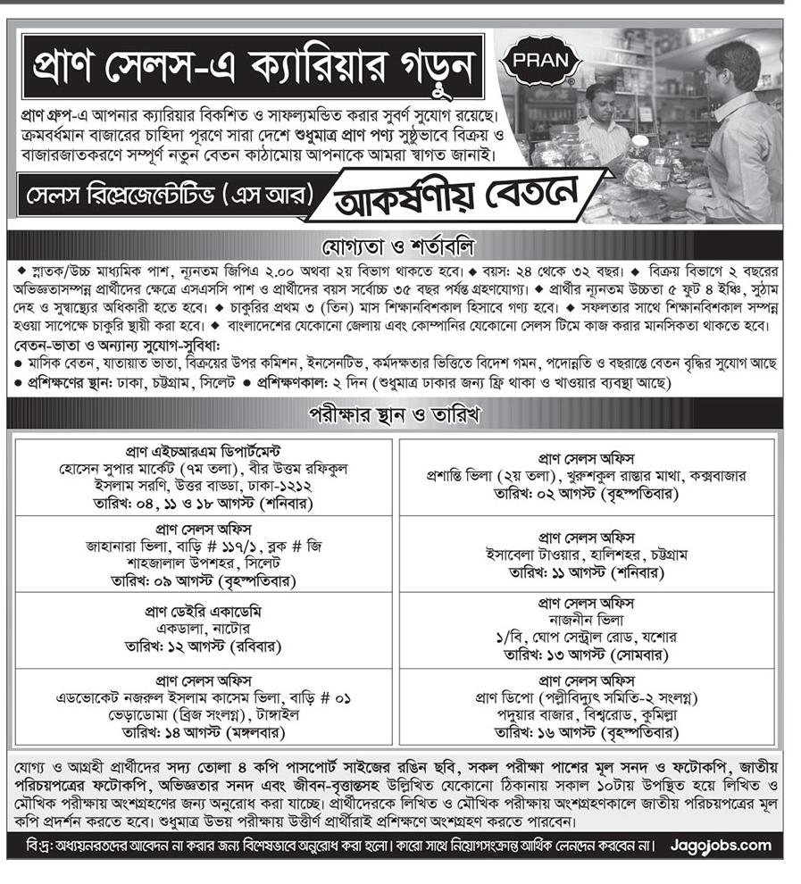 Pran Group Sales Representative (SR) Job Circular 2018