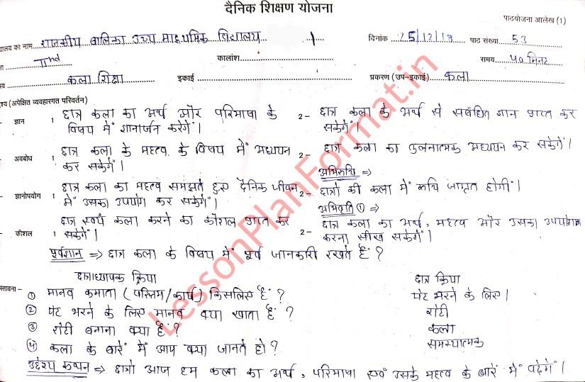 Kala Shiksha Lesson Plan Class 2