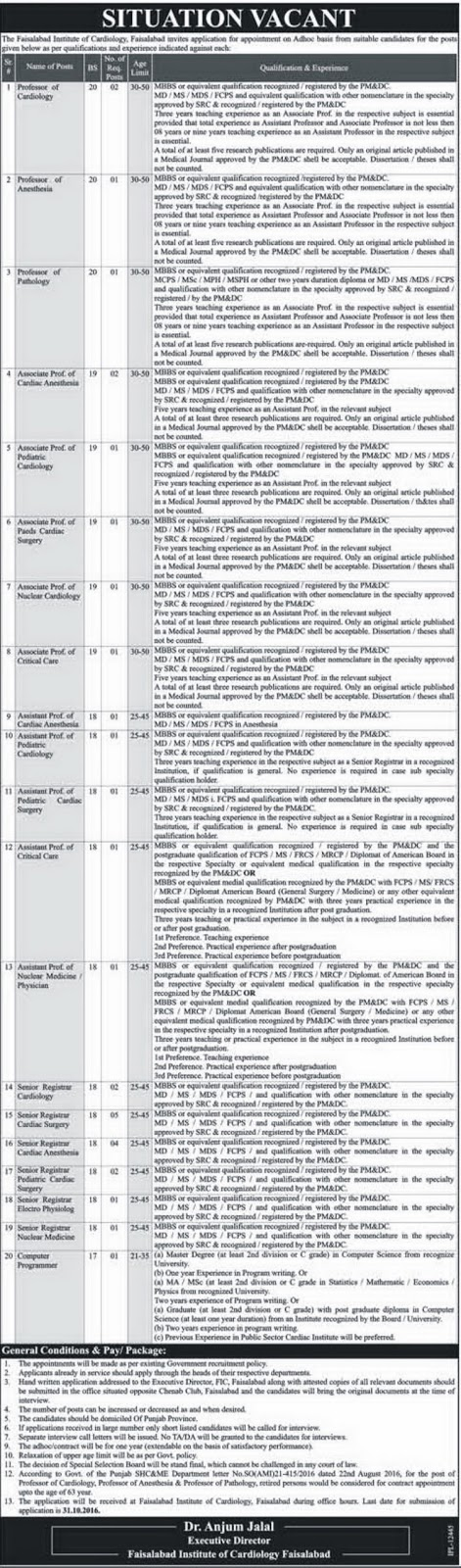 Doctors Jobs Faisalabad Institute of Cardiology