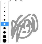 Penggunaan Pencil Tool juga berlaku sama terhadap penggunaan Brush Tool, hal yang berbeda pada Brush Tool adalah karena Brush Tool bisa dilakukan penyettingan terhadap ketebalan tulisan yang ingin anda buat. Perhatikan contoh gambar dibawah ini.