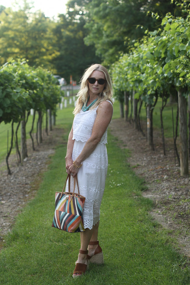 jcrew white dress, tory burch bag, marc fisher sandals