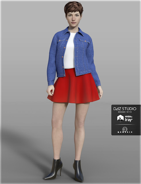 H-C Denim Jacket Outfit for Genesis 3 Female