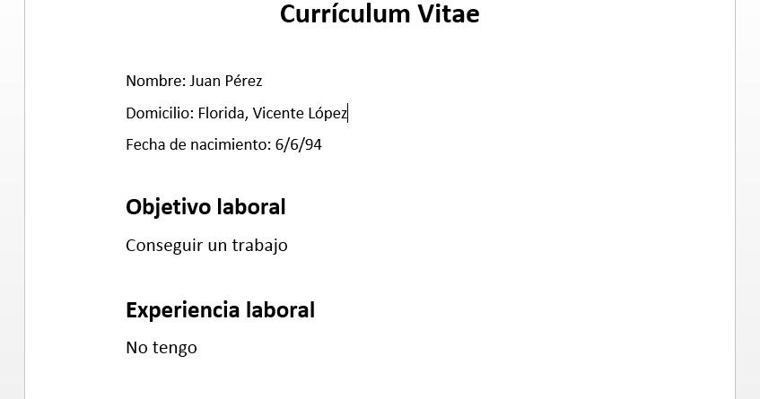 Revista Empleo: Ministerio de Trabajo - Cómo hacer un CV cuando no ...