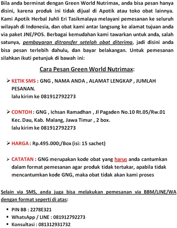 Format Pemesanan Green World Nutrimax