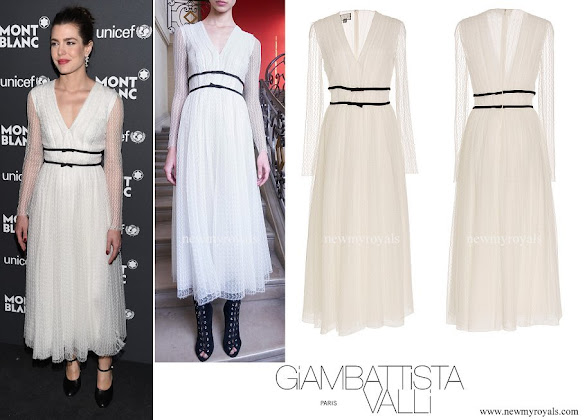 Charlotte Casiraghi wore Giambattista Valli Long Sleeve V-Neck dress