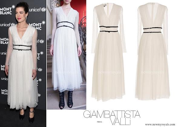Charlotte Casiraghi wore Giambattista Valli Long Sleeve V-Neck dress