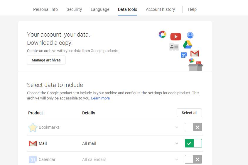 google takeout mail backup