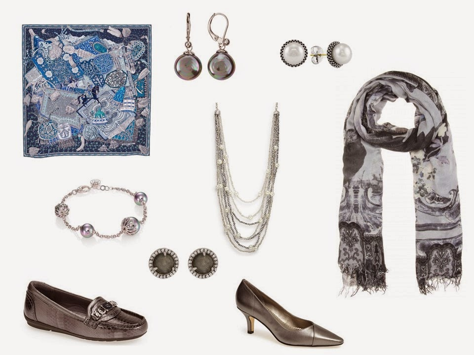 Accessories for a black, grey and blue wardrobe: shoes, jewelry and scarves