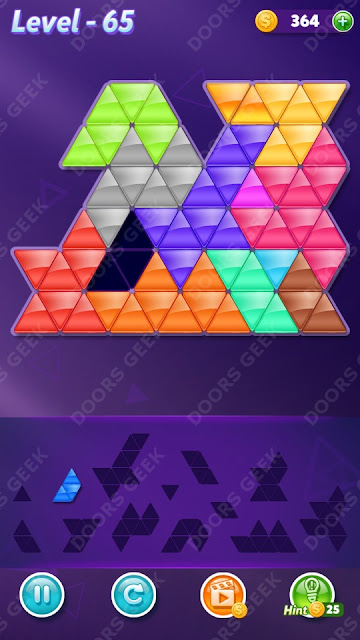 Block! Triangle Puzzle Champion Level 65 Solution, Cheats, Walkthrough for Android, iPhone, iPad and iPod