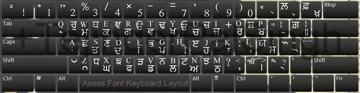 Punjabi Asees Font Keyboard With English Characters