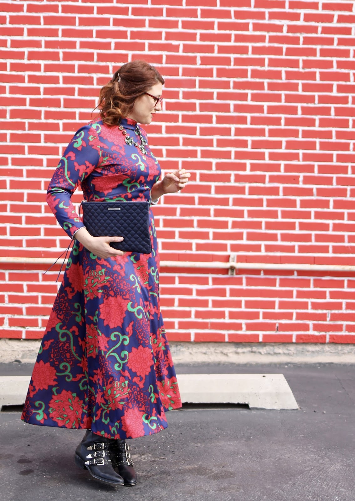 warby parker percy, Maxi dress, vintage dress, black booties,Rebecca Minkoff quilted clutch, utah fashion week, fashion show look