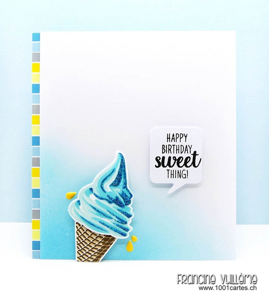 Sunny Studio Stamps: Guest Designer Two Scoops Ice Cream Card by Francine Vuilleme