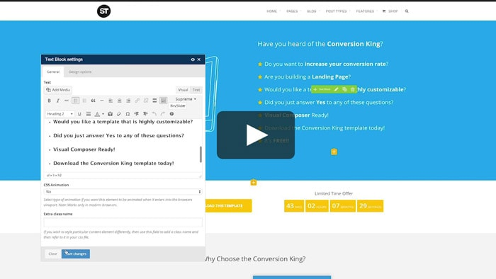 download template landing page blogger