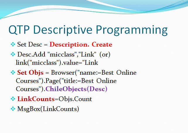 Easy way to automate testing: qtp descriptive programming how to.