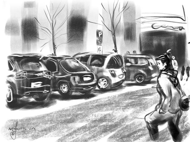 Urban sketch Triangelen Malmö by Ulf Artmagenta