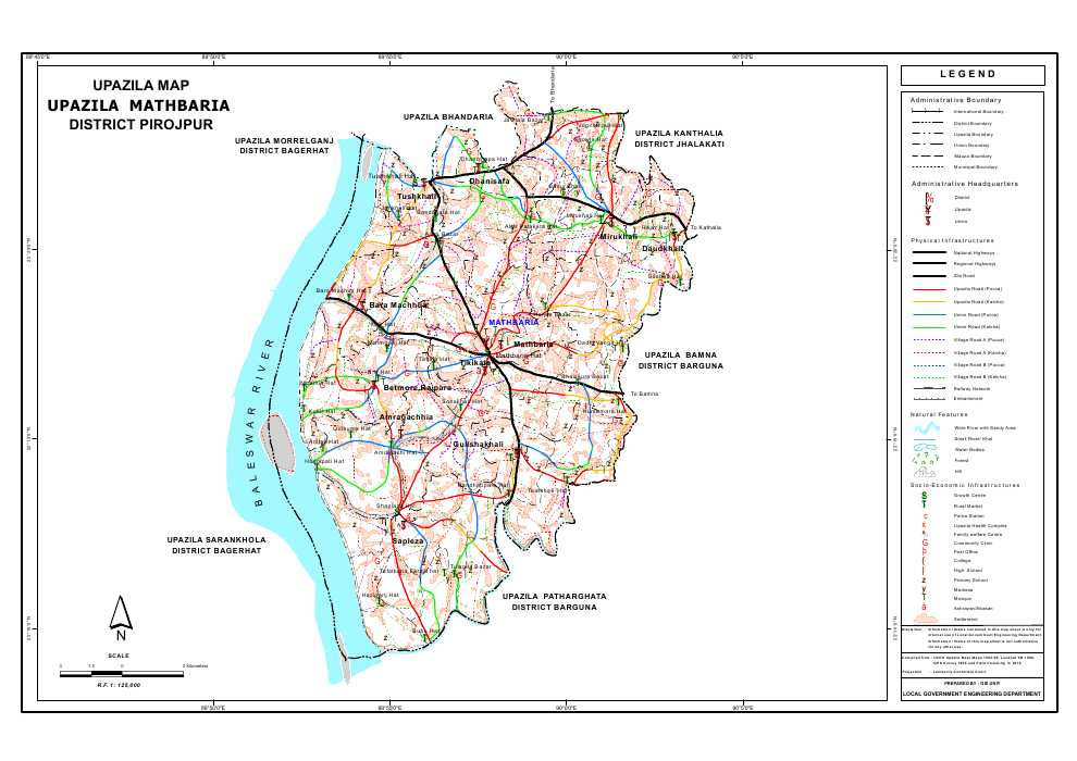 Mathbaria Upazila Map Pirojpur District Bangladesh