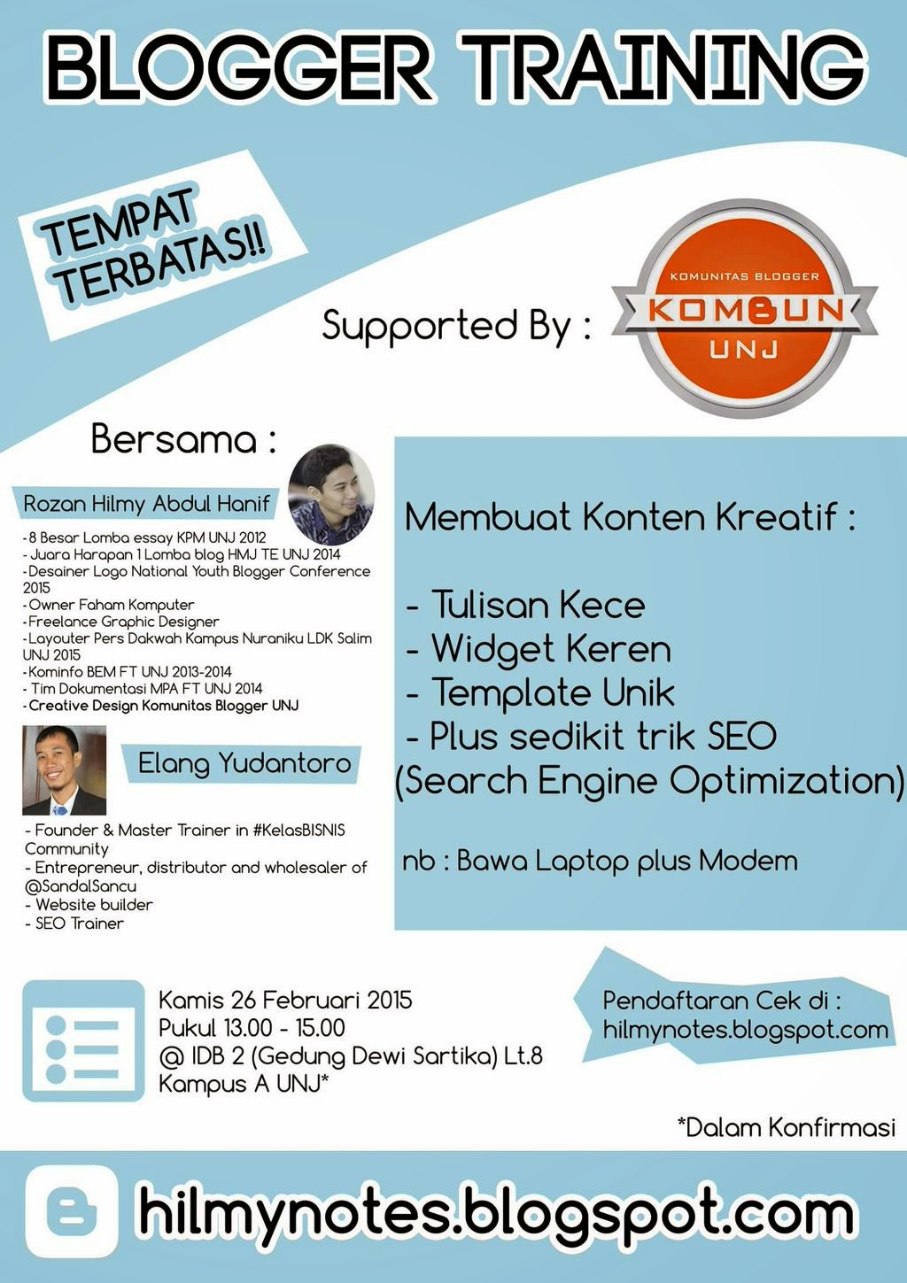 Brosur Blogger Training Kombun