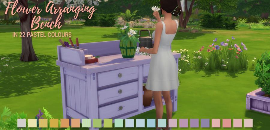 flower arranging bench in 22 pastel colours simlish designs. Black Bedroom Furniture Sets. Home Design Ideas