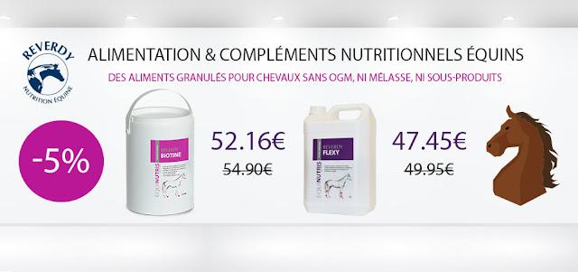 réduction de -5% sur l'alimentation et les compléments nutritionnels de la marque Reverdy !