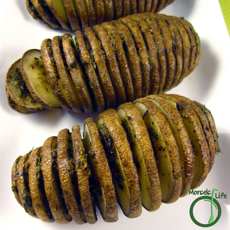Morsels of Life - Hasselback Potatoes - Potatoes, sliced mostly through, and baked for a crispy outside and tender, flavorful inside.