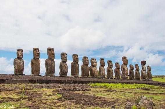 Los 15 Moais del Ahu Tongariki. Isla de Pascua
