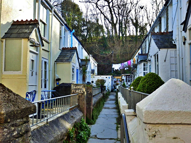 Narrow lane of houses in Padstow, Cornwall