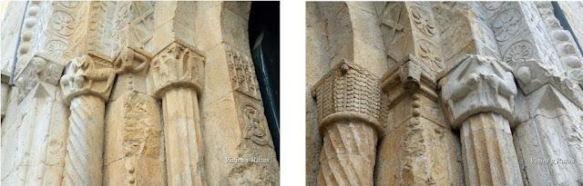 Detalles de la portada del Monasterio de Sant Pere de Galligants, Girona