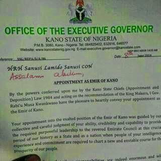 sanusi lamido emir kano appointment letter