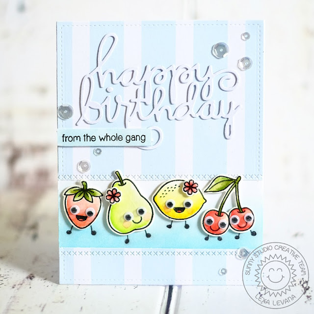 Sunny Studio Stamps: Fresh & Fruity Googly Eyes Fruit Birthday Card by Lexa Levana.