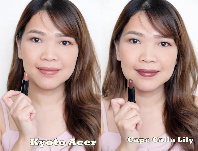 a photo of Nikki Tiu askmewhats The Body Shop Colour Crush Lipsticks review in shades Kyoto Acer and Cape Calla Lily
